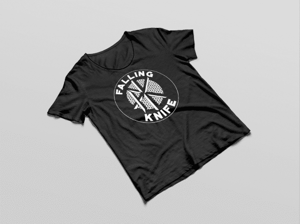 Black tee-shirt with Falling Knife graphic