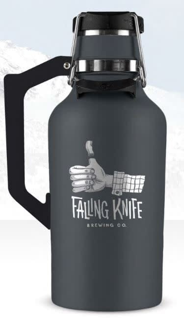 Stainless steel growler with Falling Knife logo