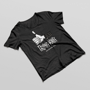 Black tee-shirt with Falling Knife logo