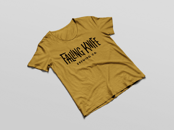 Yellow tee-shirt with Falling Knife typeface